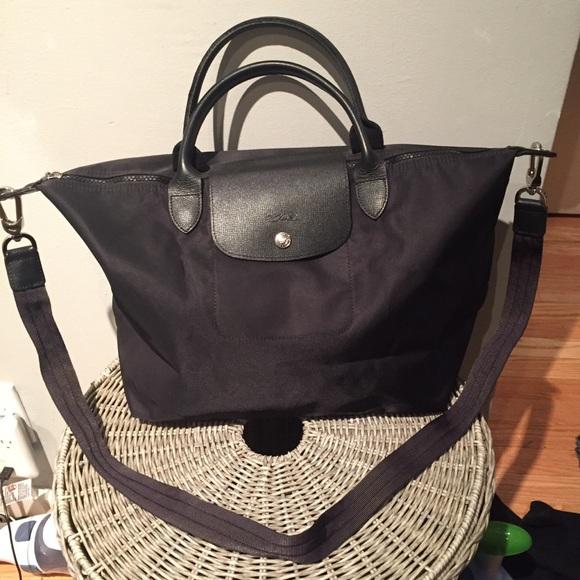 Longchamp Handbags - Longchamp Le Pliage Neo Medium w Strap (Black) 415666324a
